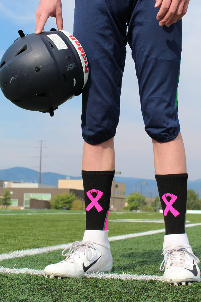 Pink Ribbon Breast Cancer Awareness Support Athletic Crew Socks