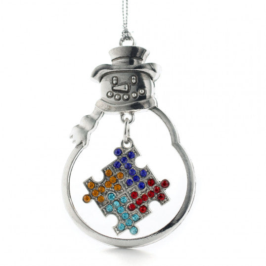 Christmas Ornament with Crystal Autism Puzzle Piece Symbol
