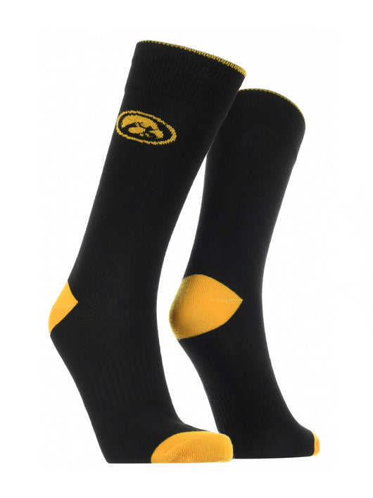 Iowa Hawkeyes Dress Socks Dean's List (Black/Gold, Large) - Black/Gold,Large