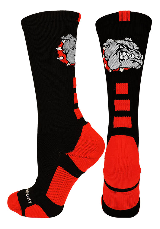 Bulldogs Logo Athletic Crew Socks (Black/Scarlet, Large)