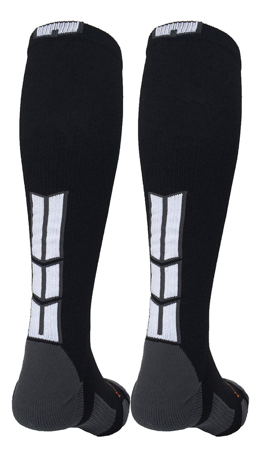 Over the Calf Athletic Team Socks (Black/Graphite/White, Large) - Black/Graphite/White,Large