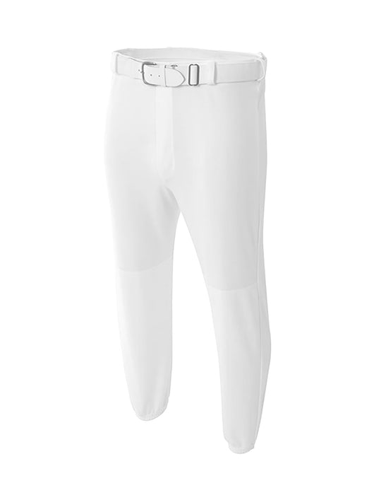 White Mens Baseball Pants Elastic Bottom Adult Basic Line MadSportsStuff