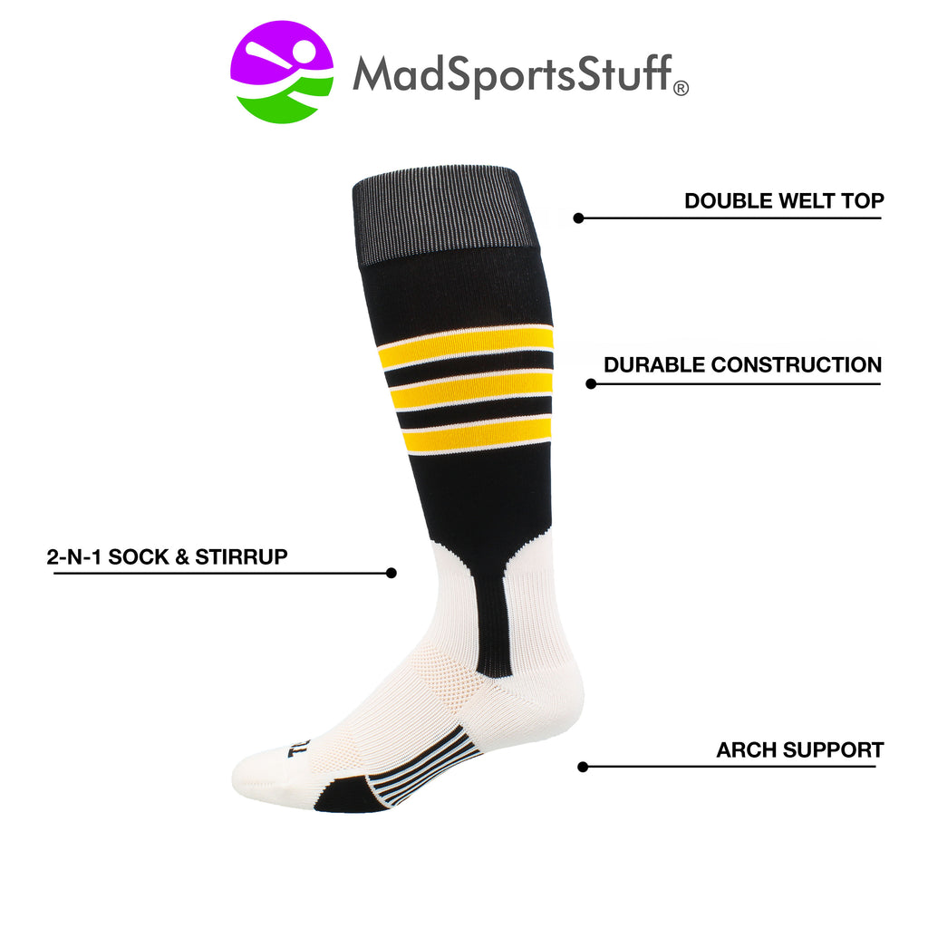 Baseball Stirrup Socks 3 Stripe with Featheredge