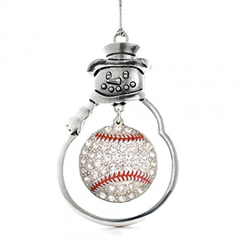 Christmas Baseball Ornament with Crystal Baseball Charm