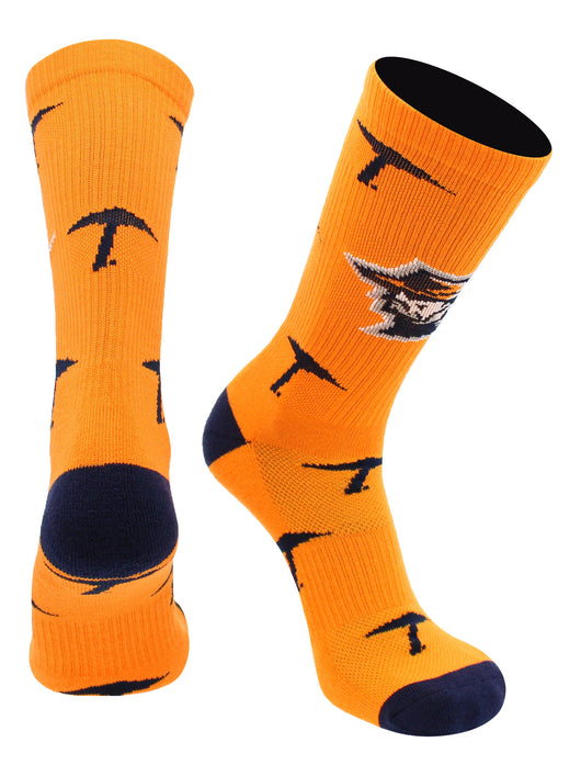 Texas El Paso Miners Socks Mayhem Crew Socks (Orange/Blue, Large) - Orange/Blue,Large