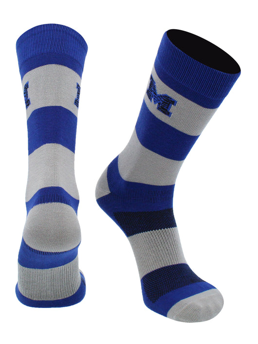 Memphis Tigers Game Day Striped Socks (Blue/Gray, Large)