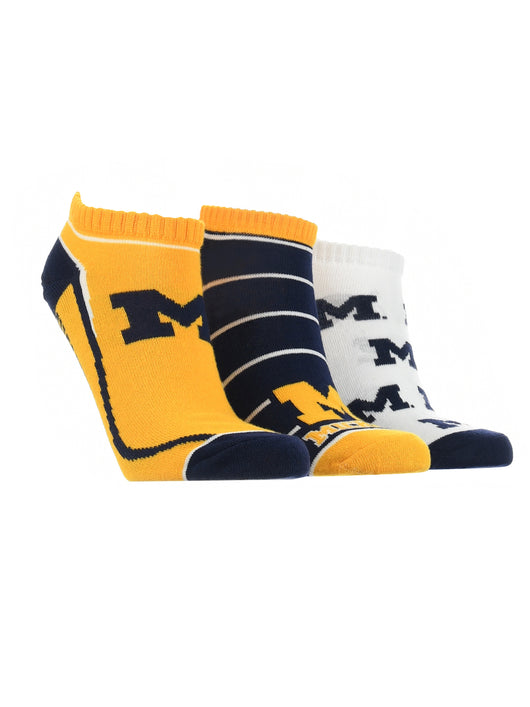 Michigan Wolverines No Show Socks Full Field 3 Pack (Blue/Maize/White, Medium)