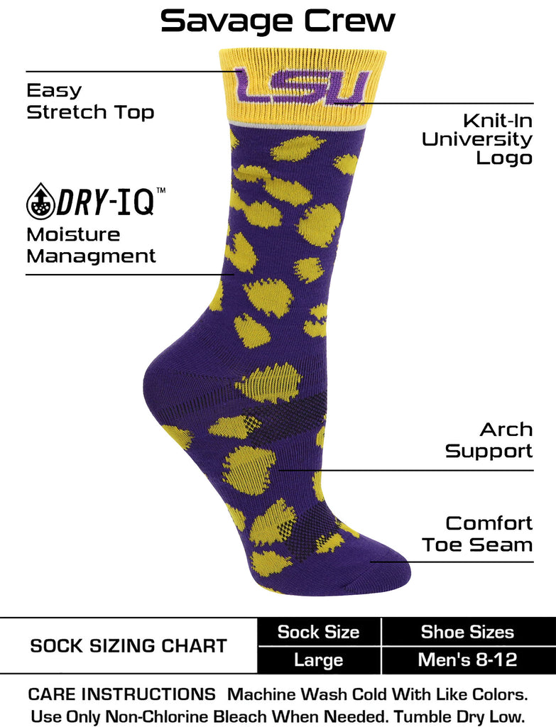 LSU Tigers Socks Womens Savage Crew Socks