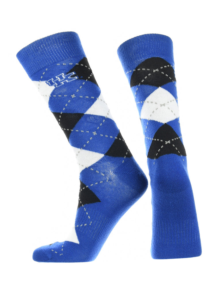 Kentucky Wildcats Argyle Dress Socks NCAA Fanwear Crew Length
