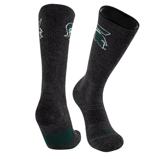 Michigan State Spartans Merino Crew Socks Far Trek (Large) - Charcoal/Green/White,Large