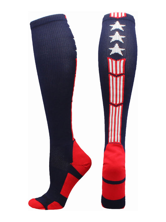 Patriot Stars and Stripes USA Flag Over the Calf Socks (Navy/Red/White 2.0, Large)