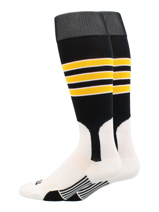 Baseball Stirrup Socks 3 Stripe (Black/Gold/White, Large) - Black/Gold/White,Large