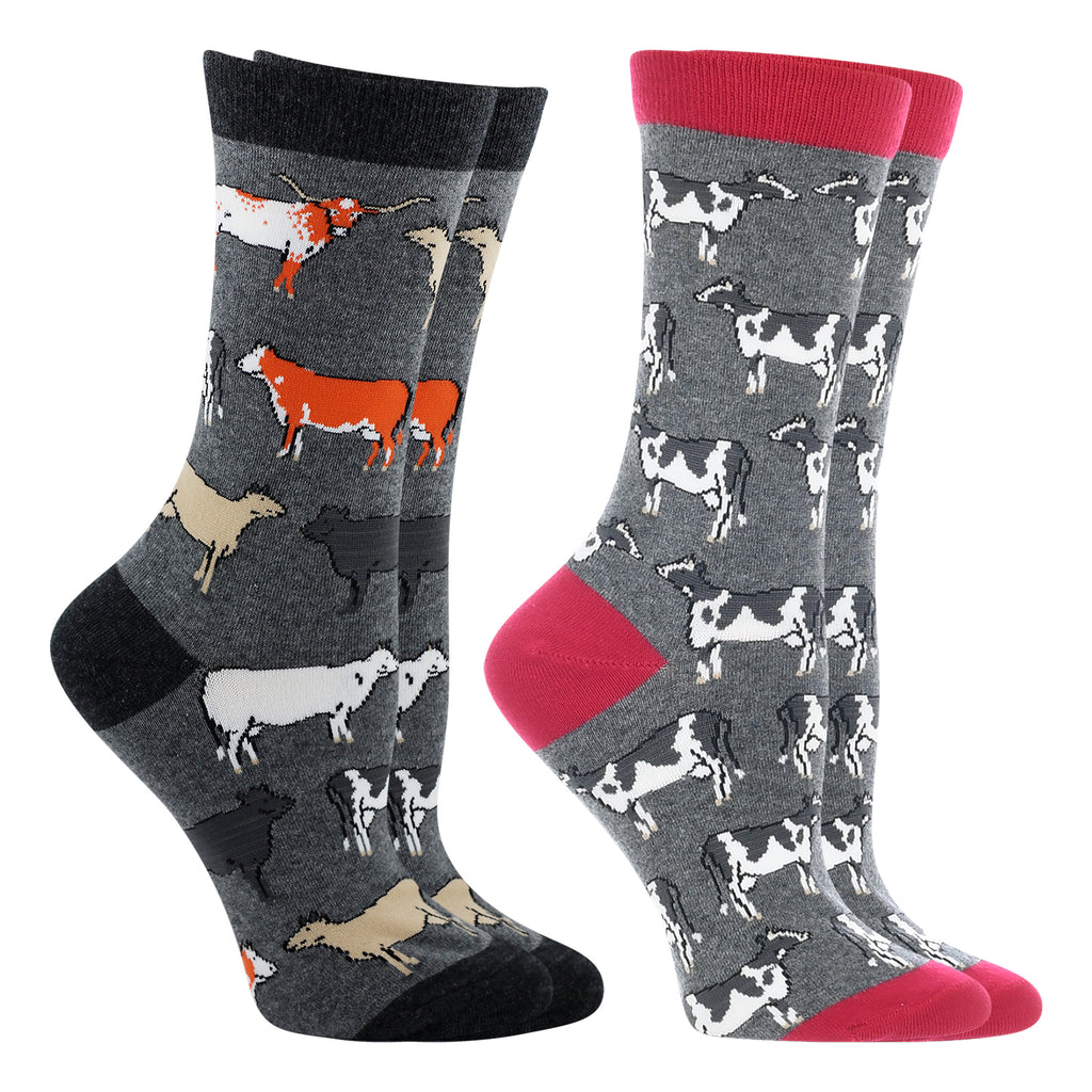 Cow Lovers Socks 2-Pack (Raspberry/Gray Heather, Medium)