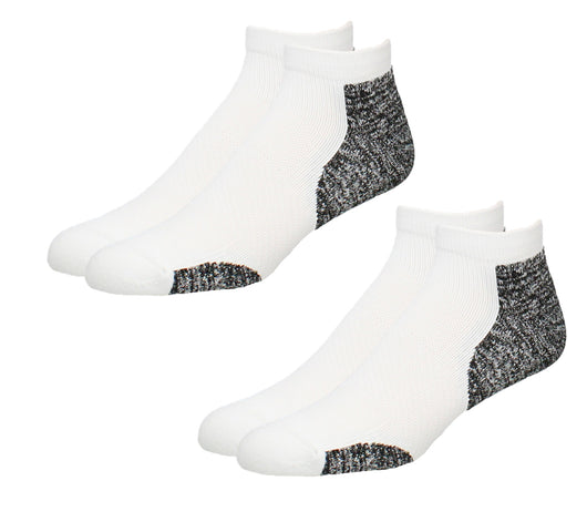 TCK Plantar Fasciitis Support Socks 2 Pair No Show (White, Large)