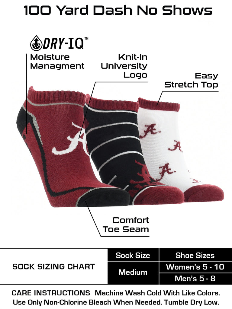 Alabama Crimson Tide No Show Socks Full Field 3 Pack
