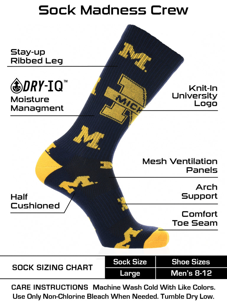 Michigan Wolverines Socks Crew Length Sock Mayhem