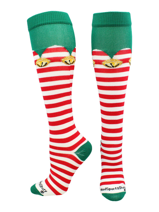 Elf Christmas Socks Over the Calf (White/Red/Green, Large)