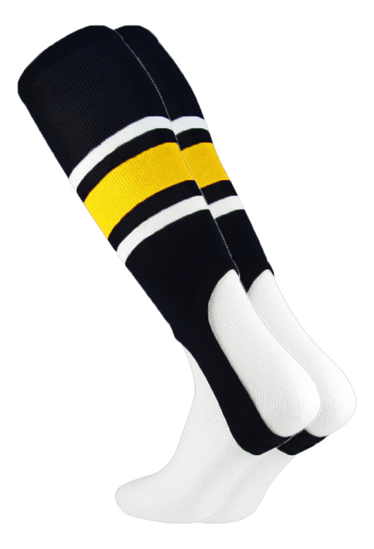 Baseball Stirrups by TCK Pattern E (Black/Gold/White, Large) - Black/Gold/White,Large