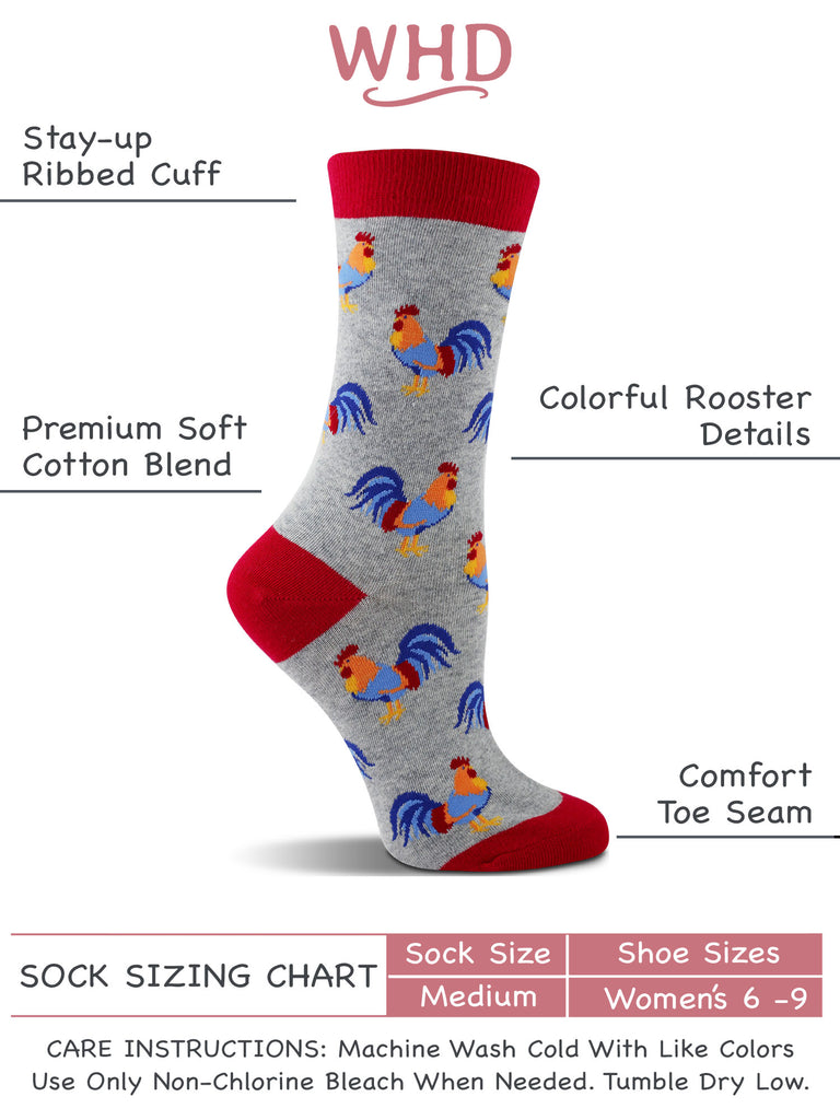 Chicken Socks with Hens and Roosters for Women - Chicken Lovers Gift - 2-Pack