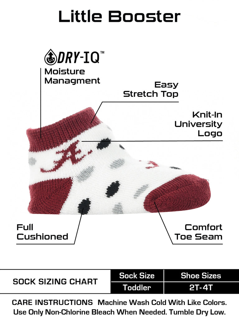 Alabama Crimson Tide Toddler Socks Low Cut Little Fan
