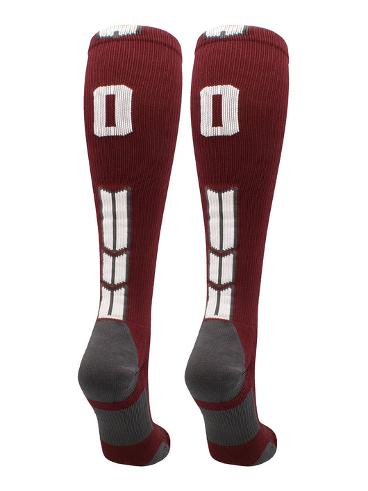Player Id Number Socks Over the Calf Maroon White (#00, Small)