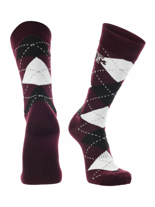 Texas A&M Aggies Argyle Dress Socks (Maroon/Grey/White, Large)