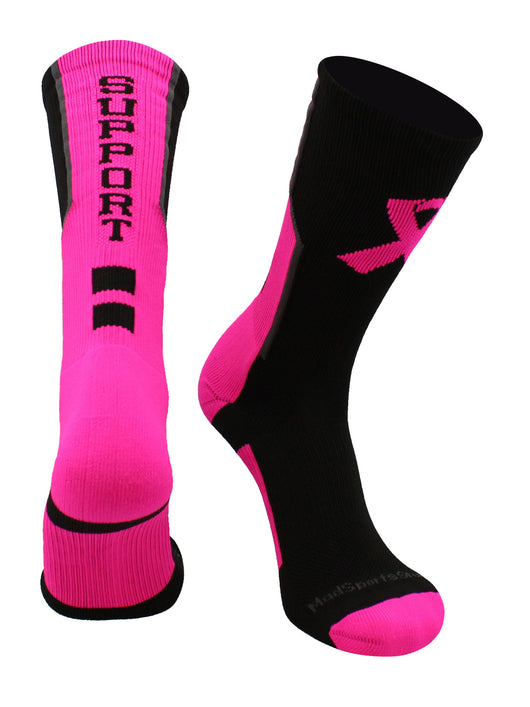 Breast Cancer Awareness Support Crew Socks (Black/Neon Pink/Graphite, Large) - Black/Neon Pink/Graphite,Large