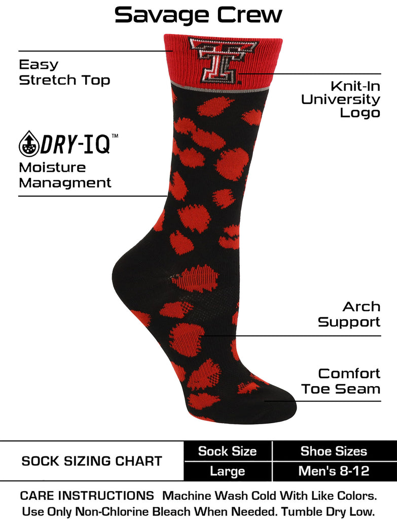 Texas Tech Red Raiders Socks Womens Savage Crew Socks