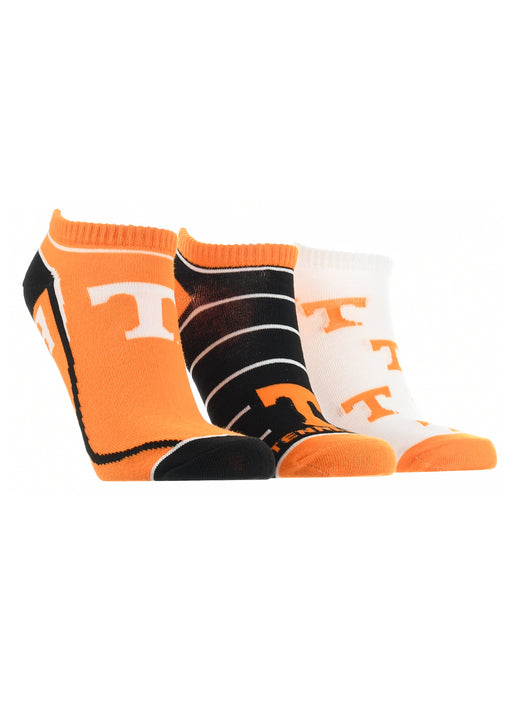 Tennessee Volunteers No Show Socks Full Field 3 Pack (Orange/Black/White, Medium) - Orange/Black/White,Medium