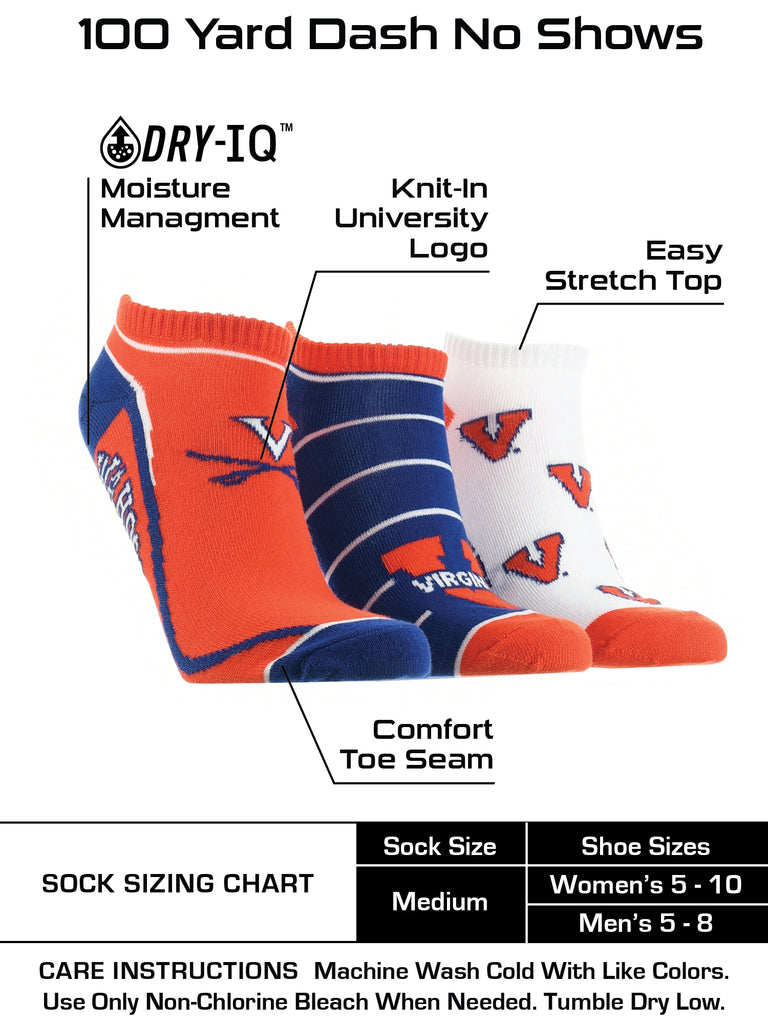 Virginia Cavaliers No Show Socks Full Field 3 Pack