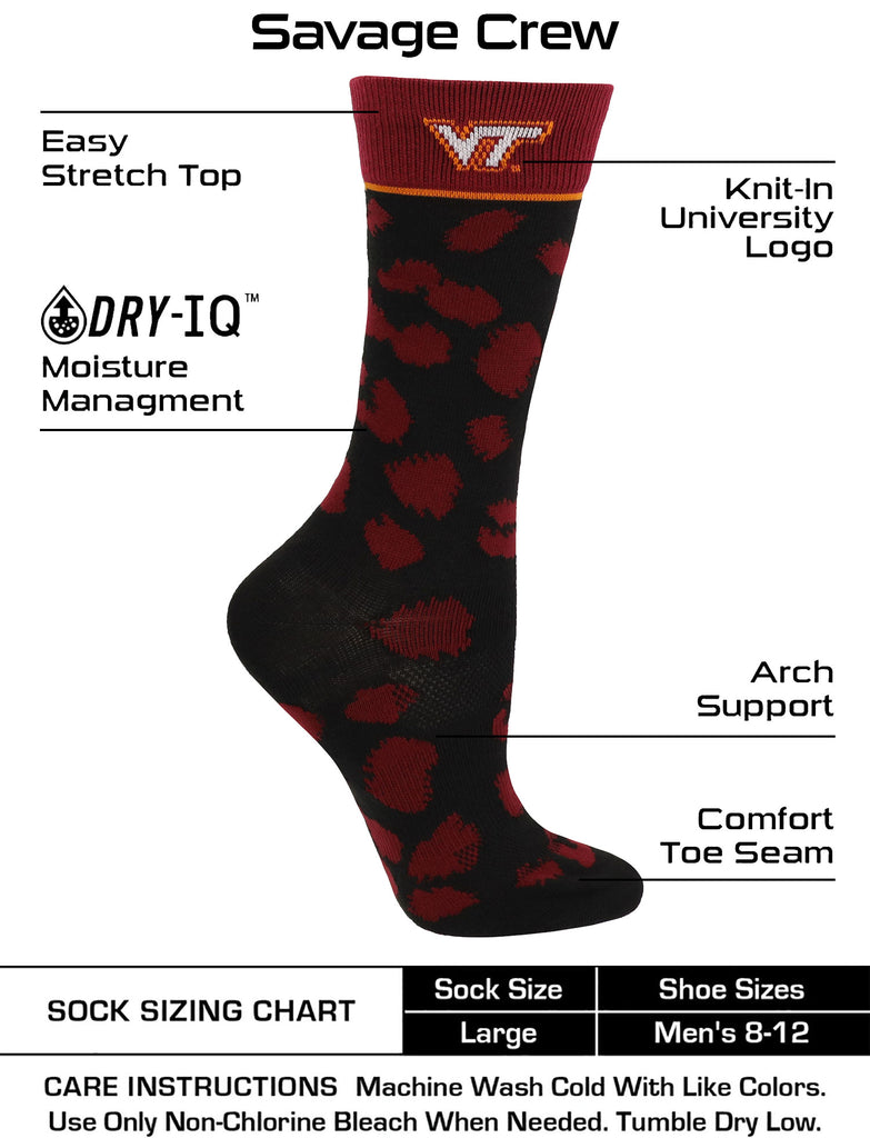 Virginia Tech Hokies Socks Womens Savage Crew Socks