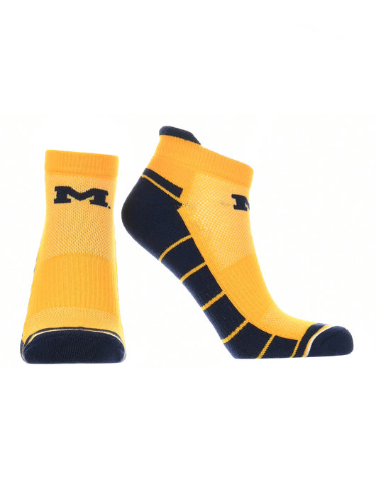 Michigan Wolverines Low Cut Ankle Socks Tab (Maize/Blue, Large) - Maize/Blue,Large