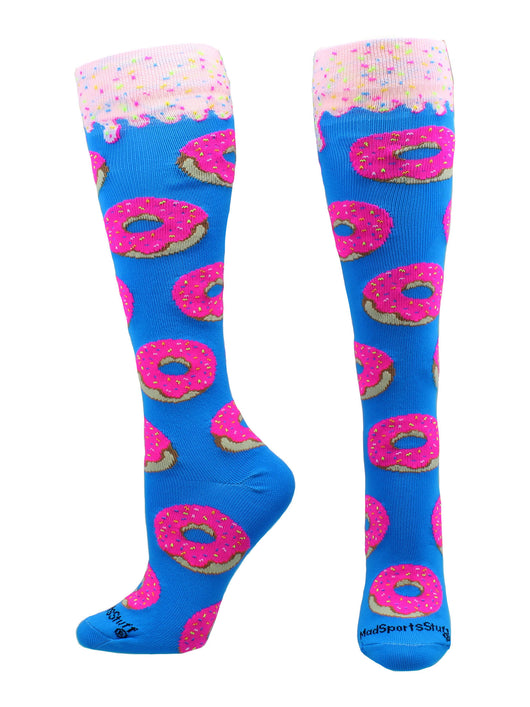 Donut Over the Calf Socks (Paradise Blue/Neon Pink, Large)