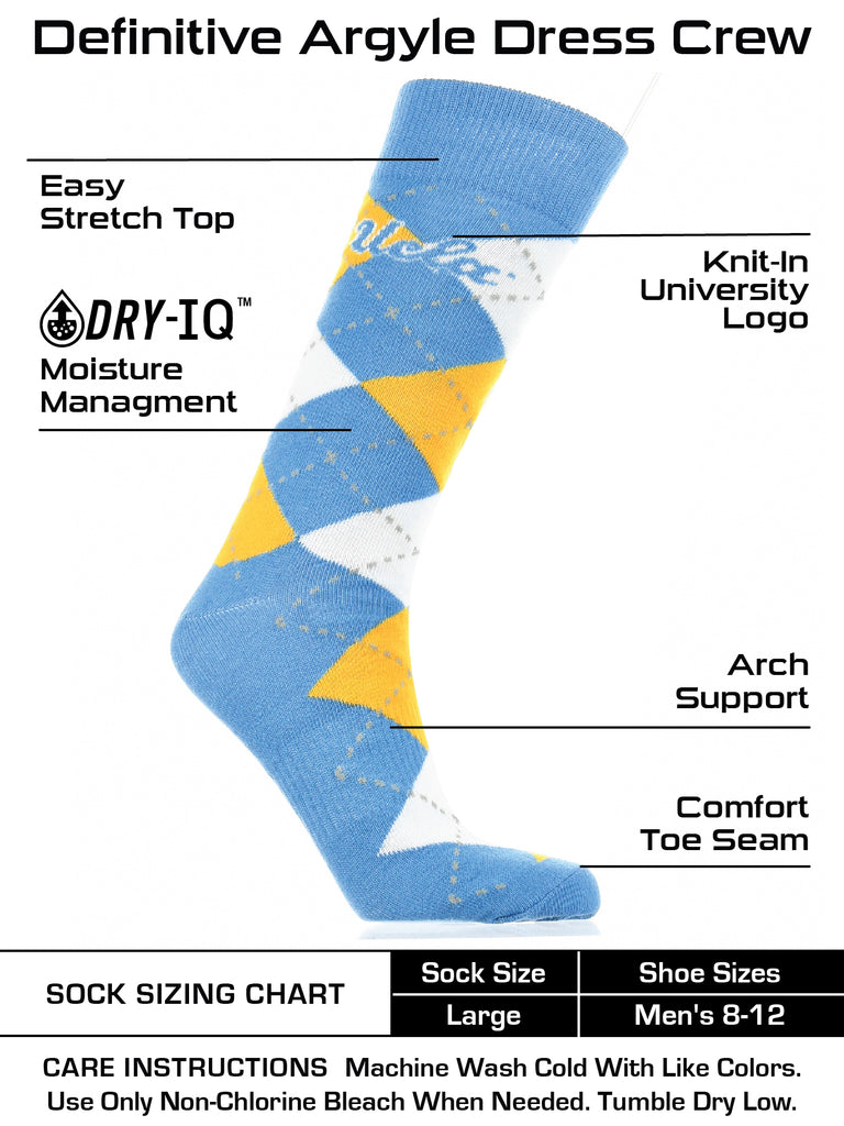 UCLA Bruins Argyle Dress Socks NCAA Fanwear Crew Length