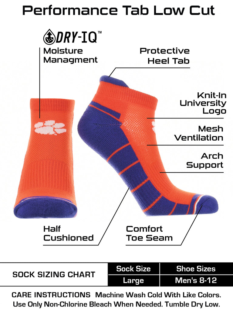 Clemson Tigers Low Cut Ankle Socks with Tab