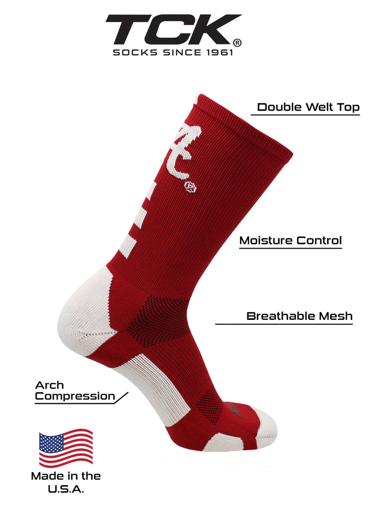 Alabama Crimson Tide Socks Baseline Crew