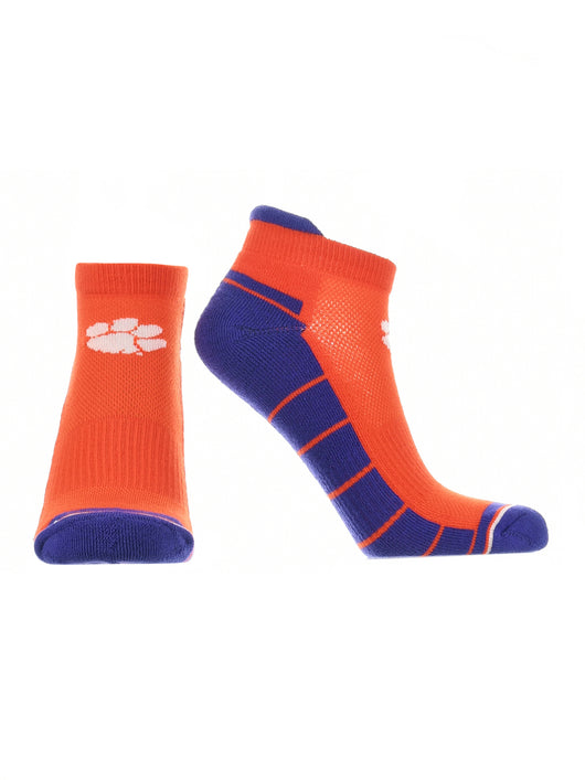 Clemson Tigers Low Cut Ankle Socks Tab (Orange/Purple/White, Large) - Orange/Purple/White,Large