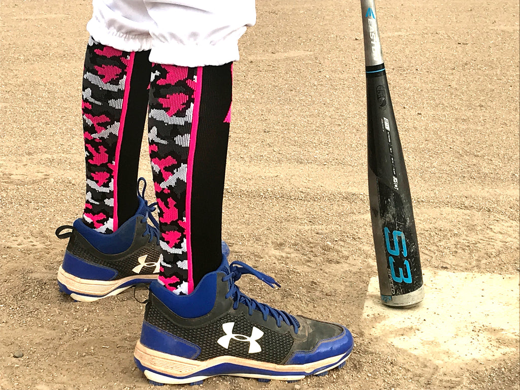 Pink Ribbon Breast Cancer Awareness Camo Over the Calf Socks (multiple colors)