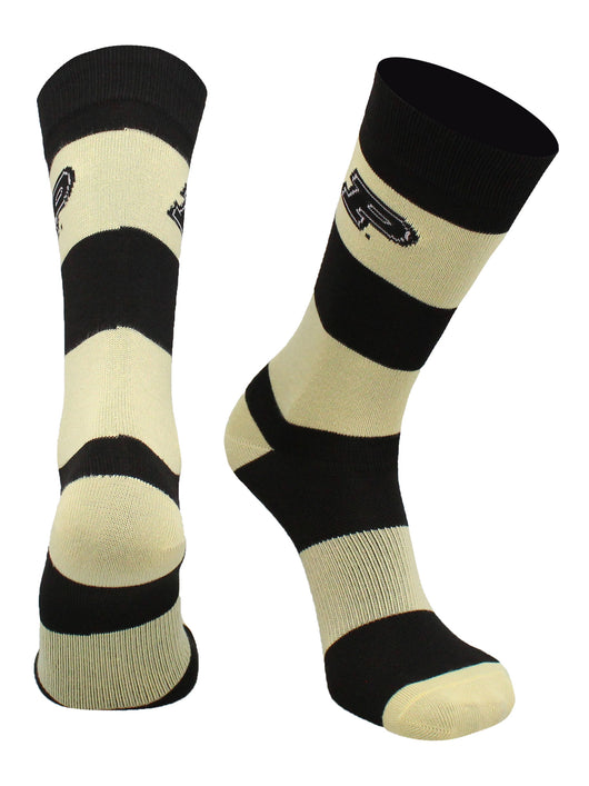 Purdue Boilermakers Game Day Striped Socks (Black/Old Gold, Large)