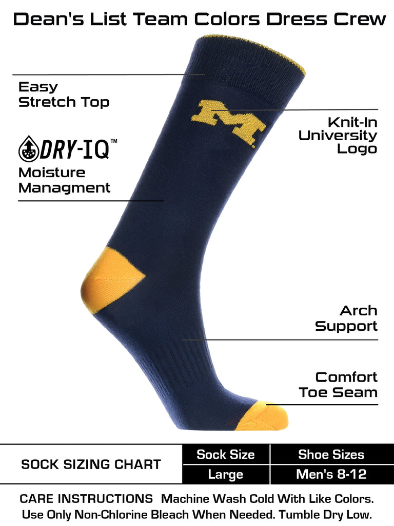 Michigan Wolverines Dress Socks Dean's List Crew Length Socks
