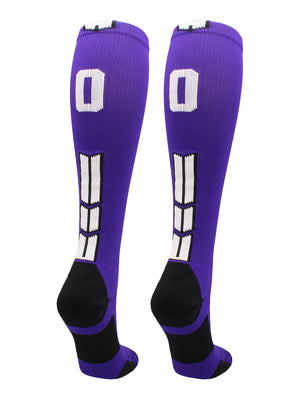 Player Id Number Socks Over the Calf Purple White (#00, Small) - #00,Small