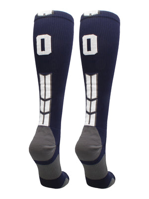 Navy/White Player Id Over the Calf Number Socks (#00, Small) - #00,Small