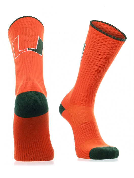 Miami Hurricanes Socks Campus Legend Crew (Orange/Green, Large) - Orange/Green,Large