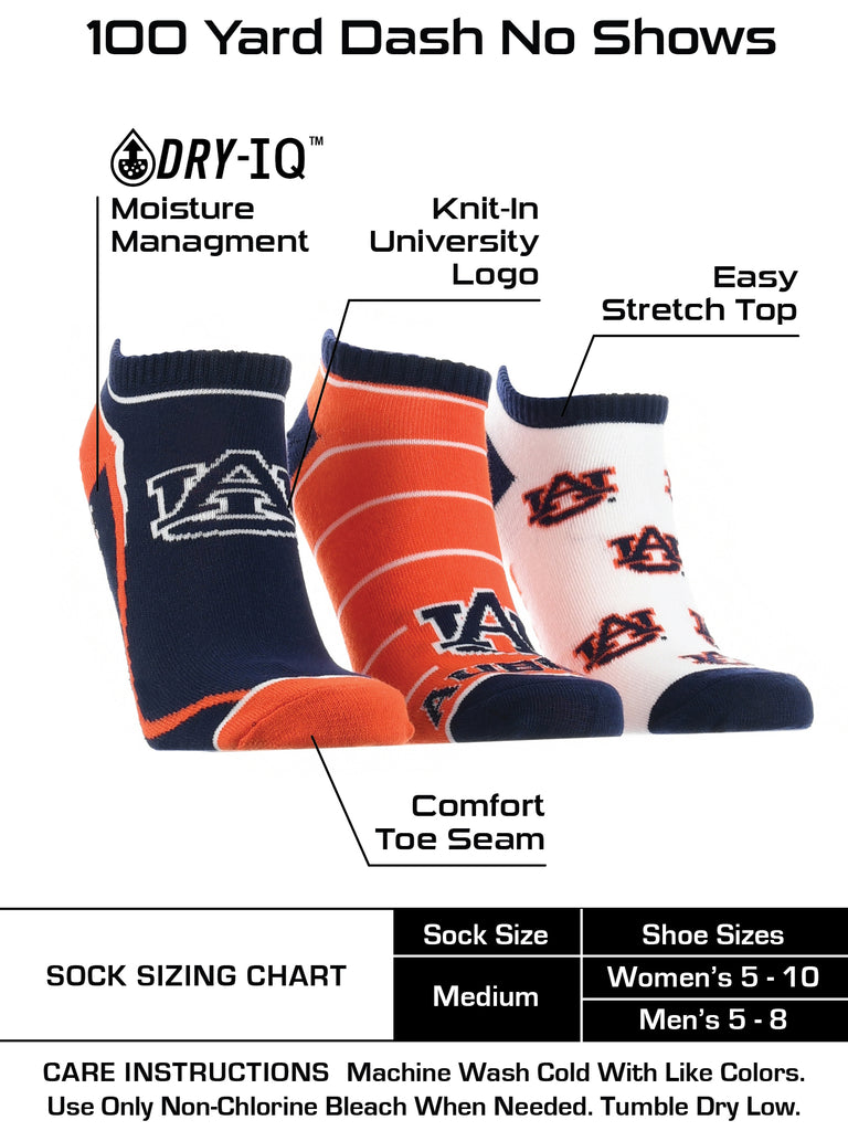 Auburn Tigers No Show Socks Full Field 3 Pack
