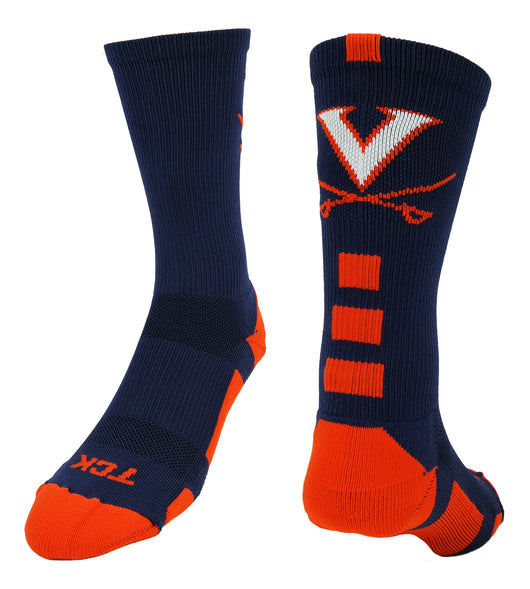 Virginia Baseline Crew Socks (Navy/Orange, Large) - Navy/Orange,Large