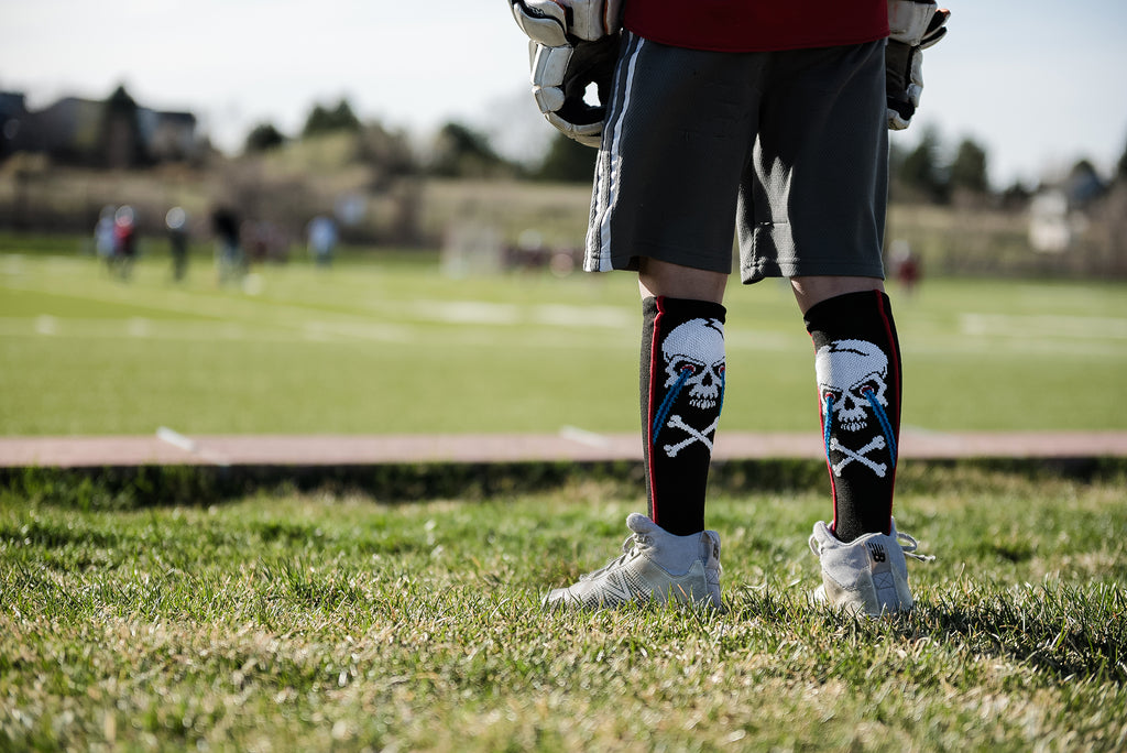 Crazy Socks with Laser Skull and Crossbones Over the Calf Socks