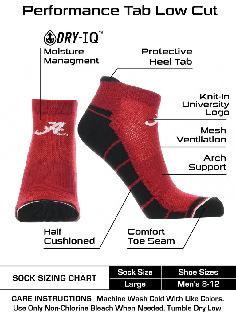 Alabama Crimson Tide Low Cut Ankle Socks with Tab