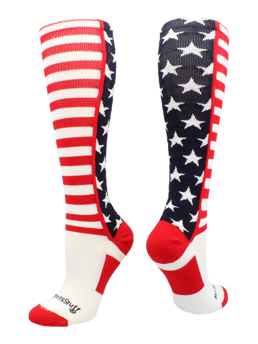 USA American Flag Stars and Stripes Over the Calf Socks (Navy/Red/White, Large)