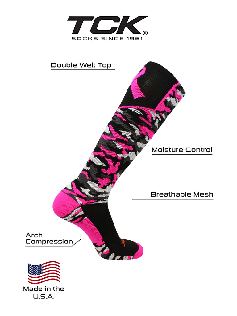 Woodland Camo Breast Cancer Awareness Over the Calf Socks