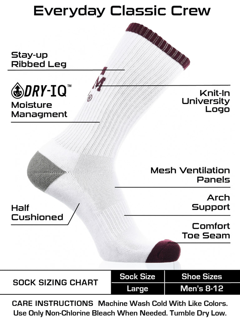 Texas A&M Aggies Socks Basic Crew White Socks